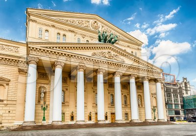 The iconic Bolshoi Theatre, sightseeing and landmark in Moscow, Russia Stock Photo