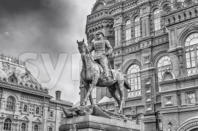 Marshal Zhukov statue outside the State Historical Museum, Moscow, Russia Stock Photo