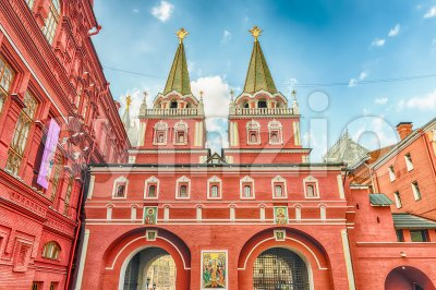 Resurrection Gate, main access to Red Square in Moscow, Russia Stock Photo