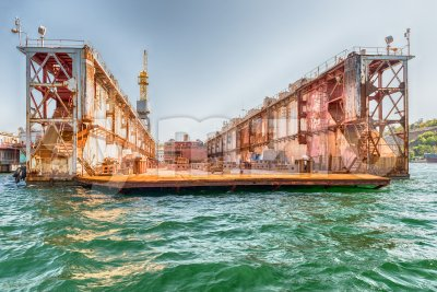 Rusty dry dock in the quay of Sevastopol bay, Crimea Stock Photo