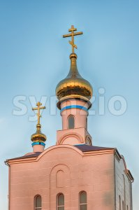 Traditional orthodox church in Frunze, small village in Crimea Stock Photo