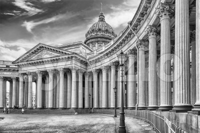 Facade and colonnade of Kazan Cathedral in St. Petersburg, Russia Stock Photo