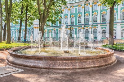 Fountain in the courtyard of Winter Palace, St. Petersburg, Russia Stock Photo