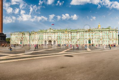 Facade of the Winter Palace, Hermitage Museum, St. Petersburg, Russia Stock Photo