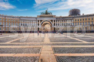 Facade of the General Staff Building, St. Petersburg, Russia Stock Photo