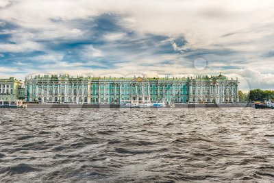 View of the Winter Palace, Hermitage Museum, St. Petersburg, Russia Stock Photo