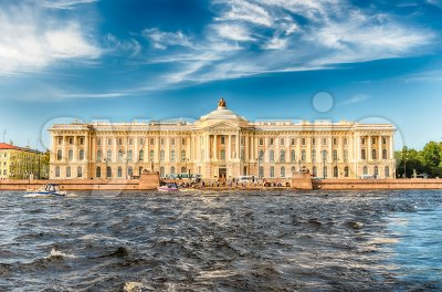 Facade of the Russian Academy of Arts, St. Petersburg, Russia Stock Photo