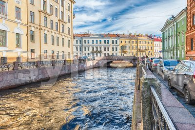 Winter Canal near Hermitage museum, St. Petersburg, Russia Stock Photo