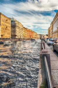 Scenic view over Moyka River embankment, St. Petersburg, Russia Stock Photo