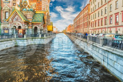 View over the scenic Griboyedov Canal, St. Petersburg, Russia Stock Photo