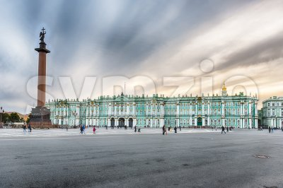 Alexander Column and Winter Palace in St. Petersburg, Russia Stock Photo