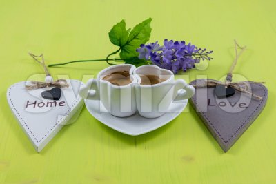 Breakfast composition for home and love concepts Stock Photo