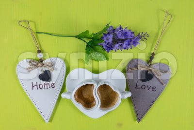 Flat lay with breakfast composition for home and love concepts Stock Photo