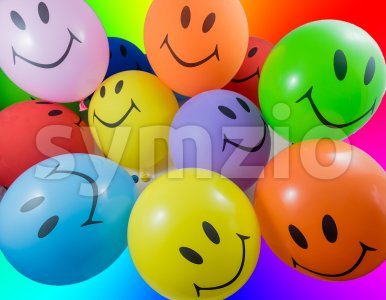 Colorful bunch of smiley balloons Stock Photo