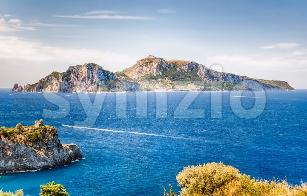 Scenic aerial view of the Island of Capri, Italy, as seen from the town of Massa Lubrense