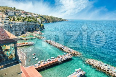 Scenic aerial view of Sorrento, Italy, during summertime Stock Photo