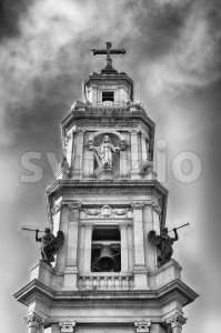 Bell tower, Church of Our Lady of Rosary, Pompei, Italy Stock Photo