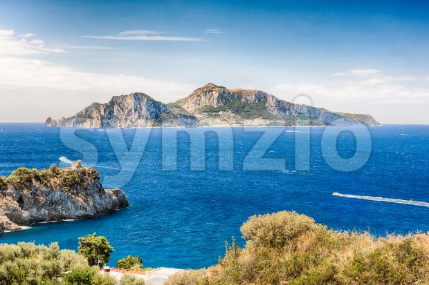 Scenic aerial view with the Island of Capri, Italy Stock Photo