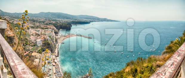 Panoramic aerial view of Sorrento, Italy, during summertime Stock Photo