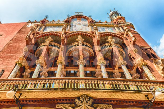 Exterior of Palau de la Musica Catalana, Barcelona, Catalonia, Spain Stock Photo