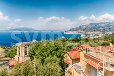Aerial view of Mount Vesuvius, Bay of Naples, Italy Stock Photo