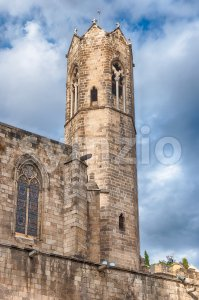 Medieval tower in Placa del Rei, Barcelona, Catalonia, Spain Stock Photo