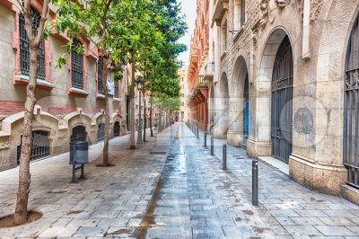 Scenic street in La Ribera district, Barcelona, Catalonia, Spain Stock Photo