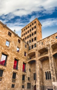 King's Martin Watchtower, landmark in Gothic Quarter, Barcelona, Catalonia, Spain Stock Photo