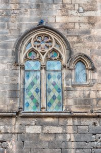 Medieval window in Placa del Rei, Barcelona, Catalonia, Spain Stock Photo