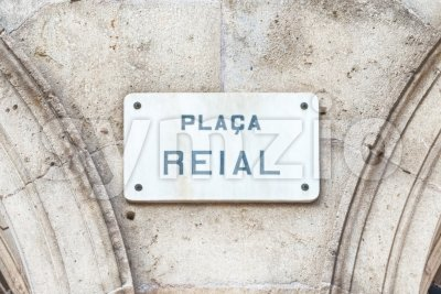 Street sign for Placa Reial, Barcelona, Catalonia, Spain Stock Photo