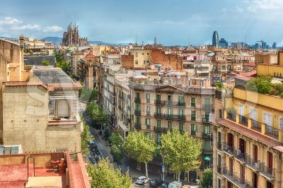 Aerial view over the rooftops of central Barcelona, Catalonia, Spain Stock Photo