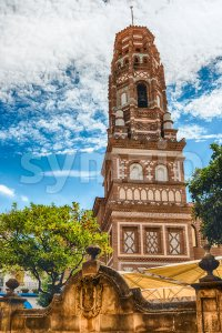 Scenic bell tower in Poble Espanyol, Barcelona, Catalonia, Spain Stock Photo