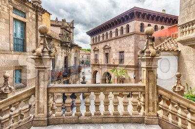 Architecture of Poble Espanyol on Montjuic Hill, Barcelona, Catalonia, Spain Stock Photo
