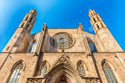 Facade of Santa Maria del Mar church, Barcelona, Catalonia, Spain Stock Photo