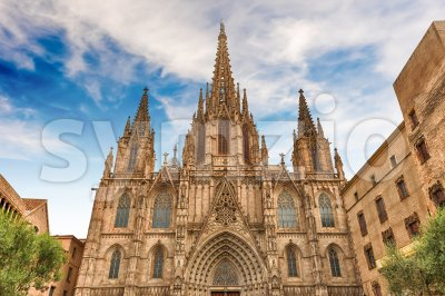 Scenic facade of the Barcelona Cathedral, Catalonia, Spain Stock Photo