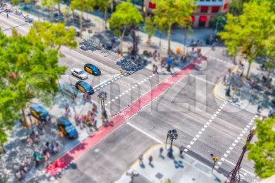 Aerial view of Passeig de Gracia, Barcelona, Catalonia, Spain Stock Photo