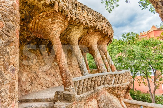 Colonnaded roadway viaduct in Park Guell, Barcelona, Catalonia, Spain Stock Photo
