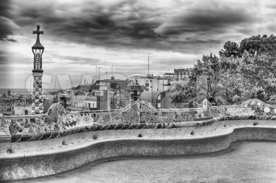 Main terrace of Park Guell, Barcelona, Catalonia, Spain Stock Photo