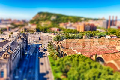 Aerial view with Montjuic mountain in background, Barcelona, Catalonia, Spain Stock Photo