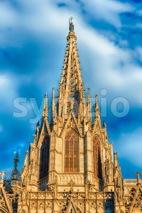 Main tower of the Barcelona Cathedral, Catalonia, Spain Stock Photo