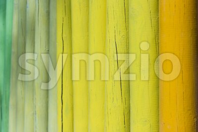 Closeup of a wooden fence with selective focus Stock Photo