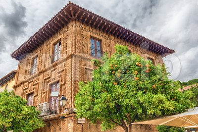 Building in Poble Espanyol, Barcelona, Catalonia, Spain Stock Photo