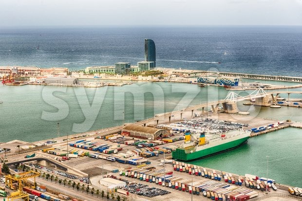 Aerial view over the Port of Barcelona, Catalonia, Spain Stock Photo