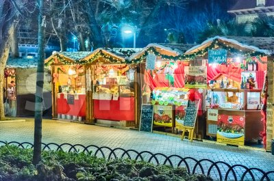 Small Christmas Market at night Stock Photo