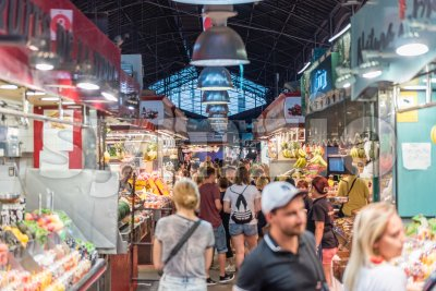 Inside La Boqueria market on La Rambla, Barcelona, Catalonia, Spain Stock Photo
