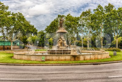 Fountain in Plaza de Sant Jordi, Montjuic, Barcelona, Catalonia, Spain Stock Photo