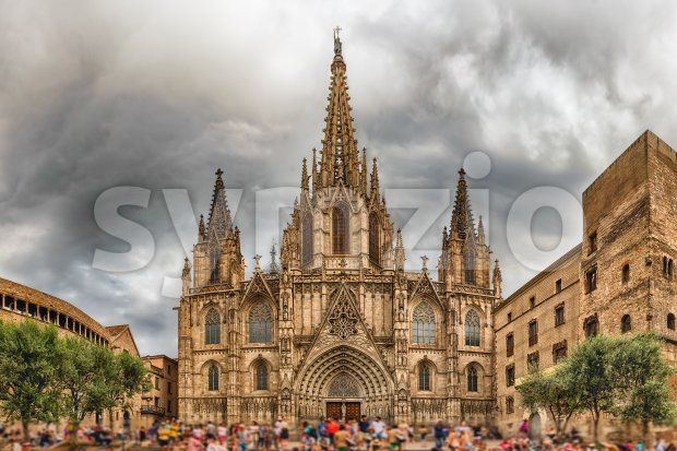 Panoramic view with facade of the Barcelona Cathedral, Catalonia, Spain Stock Photo