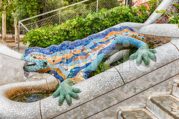 The iconic Dragon sculpture in Park Guell, Barcelona, Catalonia, Spain Stock Photo