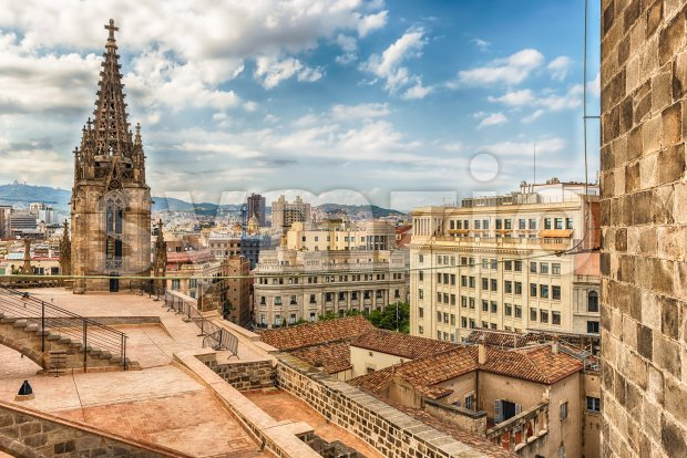 Panoramic view from the top of Barcelona Cathedral, Catalonia, Spain Stock Photo