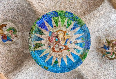 Ceiling with mosaic in Park Guell, Barcelona, Catalonia, Spain Stock Photo